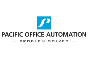 """Pacific Office Automation logo. """"Problem Solved."""""""
