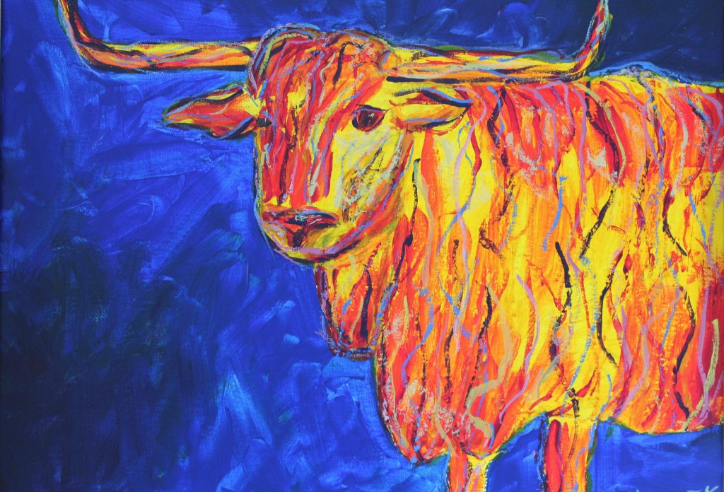 A painting of a buffalo in red and yellow on a blue background